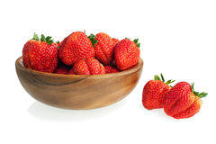Fresh ripe strawberries in wooden bowl isolated on white backgro Royalty Free Stock Image