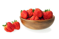 Fresh ripe strawberries in wooden bowl isolated on white backgro Stock Photo