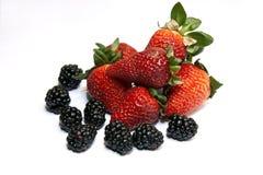 Fresh ripe strawberry with blackberry Stock Photos