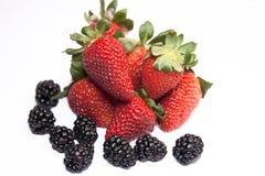 Fresh ripe strawberry with blackberry Stock Image