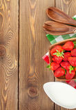 Fresh ripe strawberry in bowl Stock Images