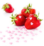 Fresh ripe strawberry on white background, decorated with sweet Stock Photos