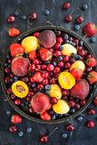 Fresh ripe summer berries and fruits Royalty Free Stock Photos