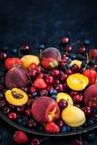 Fresh ripe summer berries and fruits stock image