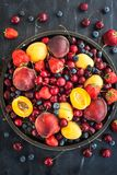 Fresh ripe summer berries and fruits Royalty Free Stock Photo