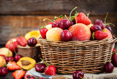 Fresh ripe summer berries and fruits Royalty Free Stock Photography