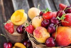 Fresh ripe summer berries and fruits Stock Photo