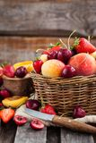 Fresh ripe summer berries and fruits Stock Images