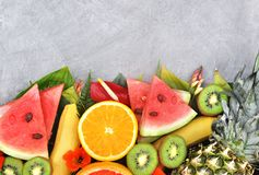 Fresh ripe sweet assorted fruits royalty free stock image