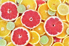 Juicy citrus fruits colorful background royalty free stock photos