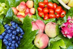 Fresh ripe and sweet fruits on local market. Royalty Free Stock Images