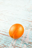 Fresh Ripe Sweet Orange Fruit on Rustic Blue Wood Background Stock Photo