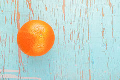 Fresh Ripe Sweet Orange Fruit on Rustic Blue Wood Background Royalty Free Stock Photos