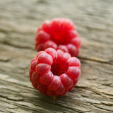 Fresh Ripe Sweet Raspberry on Wooden Background Stock Photos