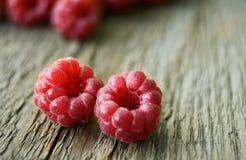 Fresh Ripe Sweet Raspberry on Wooden Background. Fresh Organic Food. Closeup Royalty Free Stock Image