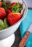 Fresh ripe sweet strawberries, just clean still wet Stock Images