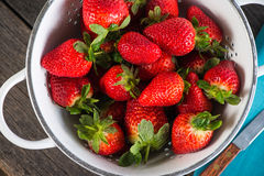 Fresh ripe sweet strawberries, just clean still wet Royalty Free Stock Image