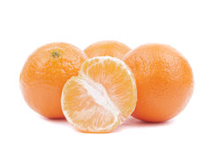 Fresh ripe tangerines. On a white background Royalty Free Stock Image
