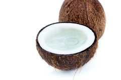 Fresh ripe tropical coconuts with water isolated on white Stock Images