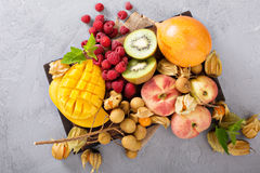 Fresh and ripe tropical fruit board Royalty Free Stock Photos