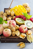 Fresh and ripe tropical fruit board Stock Images