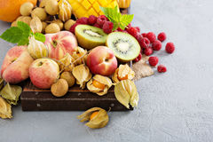 Fresh and ripe tropical fruit board Royalty Free Stock Image