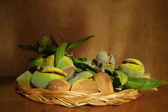 Fresh ripe unpeeled almonds with nutshell and leaves. In Provence, France Stock Photography