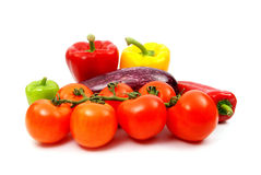 Fresh ripe vegetables. Collection of fresh, ripe vegetables including peppers, tomatoes, and eggplant Royalty Free Stock Photos
