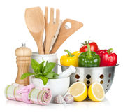 Fresh ripe vegetables, condiments and kitchen utensils Stock Images