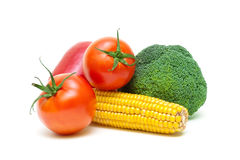 Fresh ripe vegetables isolated on a white background close-up Royalty Free Stock Images
