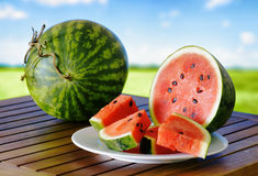 Fresh ripe watermelon on a wooden table Stock Photography