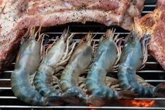 Fresh river prawn on charcoal stove. Photo of Fresh river prawn on charcoal stove royalty free stock image