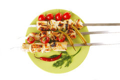Fresh roast chicken shish kebab Stock Image