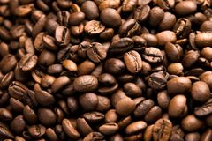 Fresh roasted arabica coffee beans background. Beautiful arabica coffee beans has very strong smell and excellent taste!Every coffee bean is unique Royalty Free Stock Images