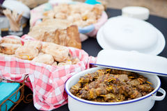 Fresh roasted bread and mutton kebabs in dishes Royalty Free Stock Images