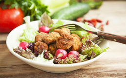 Fresh Roasted Chicken Meat Balls with Lettuce and Radish in Bowl Royalty Free Stock Images