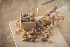 Fresh roasted cocktail nuts (vintage effect) Royalty Free Stock Images