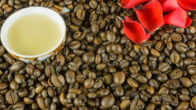 Fresh roasted coffee beans with a cup of coffee Stock Images