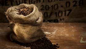 Fresh roasted coffee beans in a hessian sack. On a rustic wood floor with hessian background with stencilled text and copy space for product placement stock photos