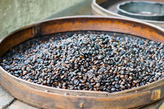 Fresh roasted coffee beans for sale Royalty Free Stock Image