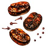 Fresh roasted coffee beans with spice, pepper and cloves, isolated, watercolor illustration on white stock illustration