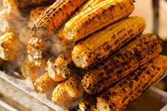 Fresh roasted or grilled corncobs. Grilled Corn for sale on the street Stock Photo