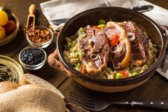 Roasted Lamb Loin Chops with Couscous and Soybean royalty free stock photos