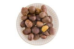Fresh roasted peeled chestnuts Stock Photos