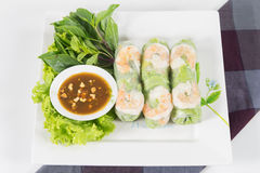 Fresh Roll with shrimp inside Stock Photo