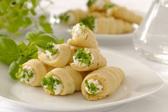 Fresh rolled crispy cookies. With cheese and herbs Royalty Free Stock Image