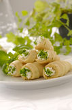 Fresh rolled crispy cookies. With cheese and herbs Royalty Free Stock Photos