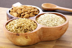 Fresh rolled oats almonds and muesli Stock Image