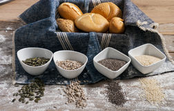 Fresh rolls and freshly baked poppy seed bread Stock Photo