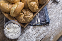 Fresh rolls and freshly baked poppy seed bread Stock Photos